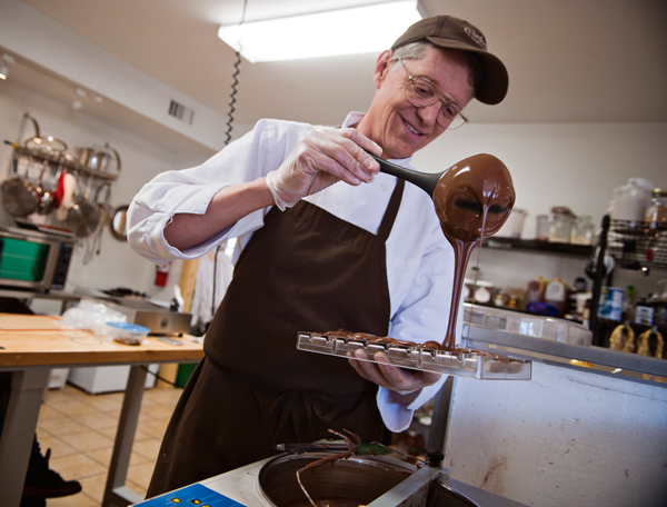 Dale Anderson creates chocolate molds at Confections with Convictions