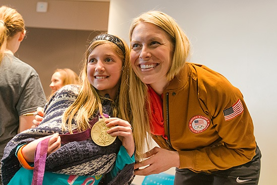 MCWT STUDENT WITH OLYMPIC MEDALIST ESTHER LOFGREN